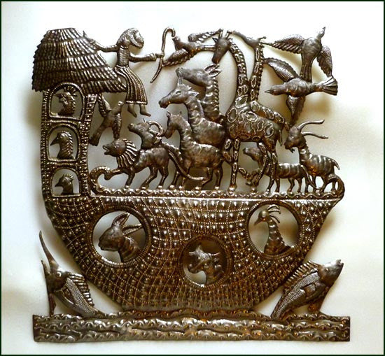 Noah and the Ark Bible Scene - Haitian Metal Art Wall Hanging - Handcrafted Christian Wall Art - 24""