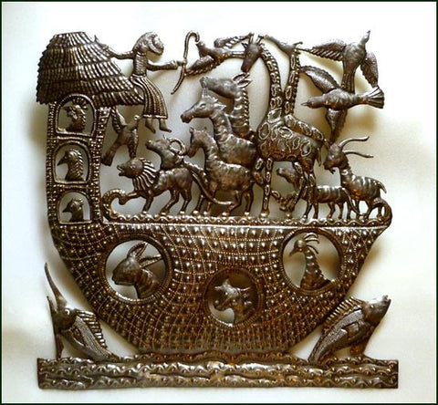 Noah and the Ark Bible Art, Haitian Metal Art Wall Hanging, Handcrafted Christian Wall Art - 24""