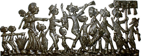 "Haitian Art, Carnival Rara Scene, Haitian Steel Drum Metal Art Wall Decor - 14"" x 34"""