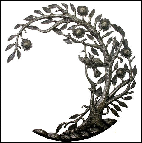 Metal Art Wall Hanging, Haiti Metal Art, Tree and Birds, Steel Drum Art of Haiti  - 24""