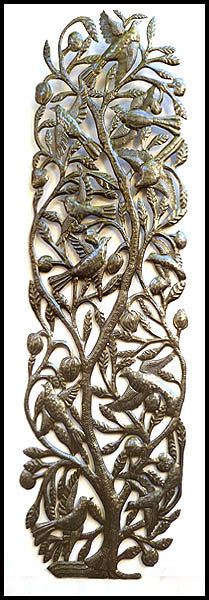 "Haitian Recycled Steel Drum Metal Art Wall Decor - Birds and Leaves - 20"" x 72"""