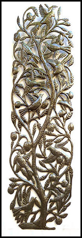 "Leaves with Birds - Handcrafted Haitian Metal Wall Sculpture - 15"" x 48"""