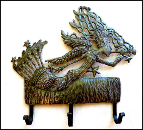 Metal Wall Hook - Angel Design - Haitian Steel Drum Art - Towel Hook - 13""