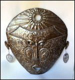 Mask Wall Hanging, Haitian Metal Art, African Ethnic Art, Steel Drum Metal Sculpture, Art of Haiti - 24""