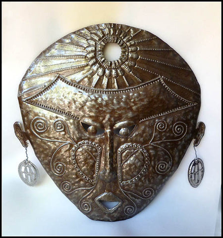 Mask Wall Hanging - Haitian Metal Art - African Ethnic Art -  Steel Drum Metal Sculpture - 24""