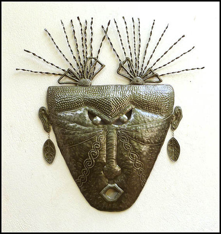 Haitian Metal Mask Wall Decor, Recycled Steel Drum, African Mask Design, Haitian Art - 31""