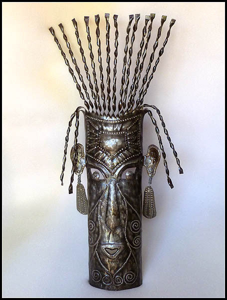 Haitian Metal Mask Wall Hanging - Tribal Art - Recycled Steel Drum - African Art - 23""