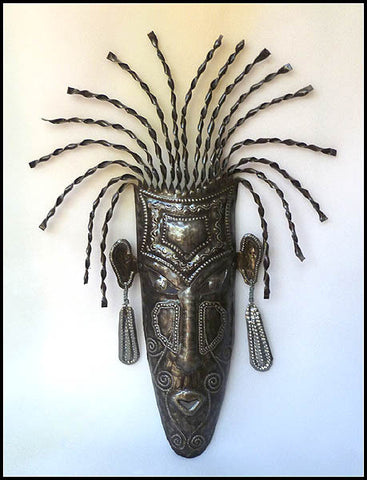 Haitian Metal Mask Wall Hanging - African Art - Handcrafted from Recycled Steel Drum - 22""