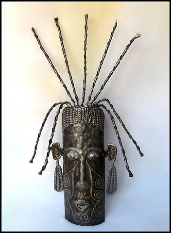 Handcrafted Metal Mask Wall Decor - African Ethnic Art - Haitian Steel Drum Art - 24""
