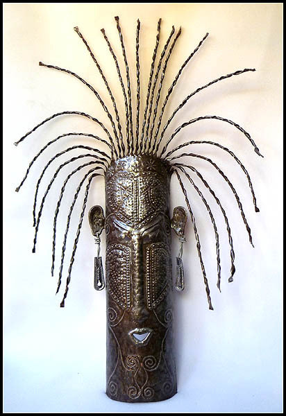 Ethnic Mask Wall Art - Haitian Steel Drum Design - African Mask - Metal Sculpture Art - 22""