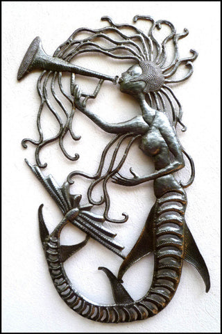 Mermaid Metal Wall Hanging - Recycled Steel Drum Art from Haiti - Mermaid Metal Art - 14 x 24""""