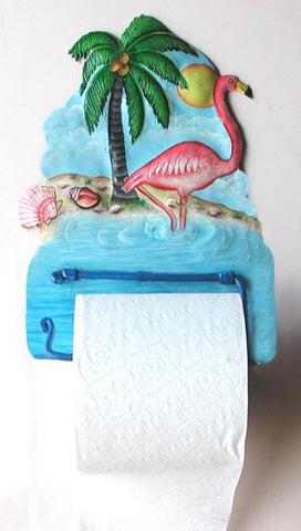 Flamingo - Hand Painted Metal Toilet Paper Holder - Tropical Bathroom Decor