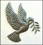 "Dove Metal Wall Hanging - Christian Wall Decor - Recycled Steel Drum Art of Haiti - 17"" x 18"""