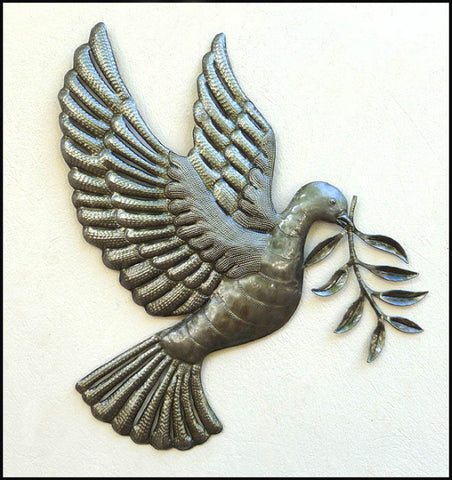 "Dove Metal Wall Hanging, Christian Wall Decor, Steel Drum Art of Haiti, Christian Decor, 17"" x 18"""