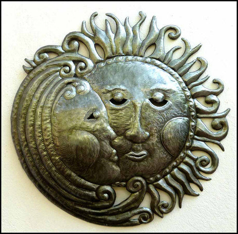 Sun and Moon Metal Wall Decor, Haitian Art, Metal Wall Hanging,  Haitian Steel Drum Art - 24""