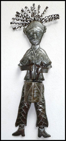 "Haitian Metal Art - Man with His Drum Wall Hanging - Haitian Steel Drum  - 9"" x 23"""