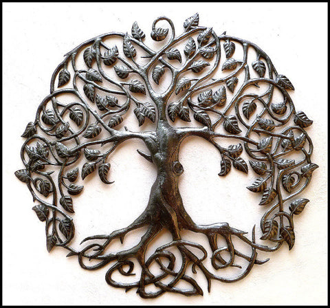 Haitian Steel Drum Metal Wall Hanging, Tree Design, Tree of Life, Haiti Metal Art, Garden Decor - 34""
