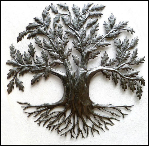 Metal Tree Art Design, Handcrafted Metal Wall Hanging, Metal Wall Decor, Haitian Metal Art - 34""