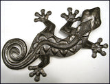 Metal Gecko Wall Art - Garden Art -   Haitian Steel Drum Art - Handcrafted Tropical Home Decor - 36""