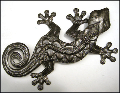"Gecko Garden Wall Decor -  Tropical  Art - Haitian Metal Art Design - 16"" x 26"""