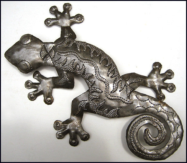 Gecko Metal Wall Art - Tropical Outdoor Garden Wall Hanging - Haitian Steel Drum Metal Art - 26""