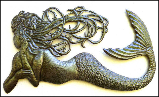 Mermaid Wall Hanging -  Haitian Metal Art - Recycled Steel Drum - Mermaid Metal Wall Art - 44""