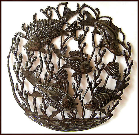 Handcrafted Fish Design - Haitian Metal Art Wall Hanging - Decorative Metal Fish Wall Decor - 24""""