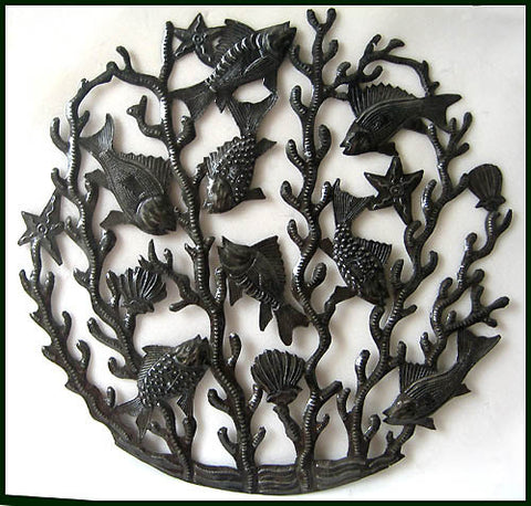 Hand Cut Metal Fish Wall Hanging - Haiti Steel Drum Metal Art - 24""""