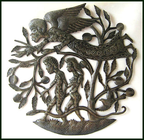 Haitian Metal Art - Bible Scene - Angel - Adam - Eve in the Garden -  Religious Wall Decor - 24""