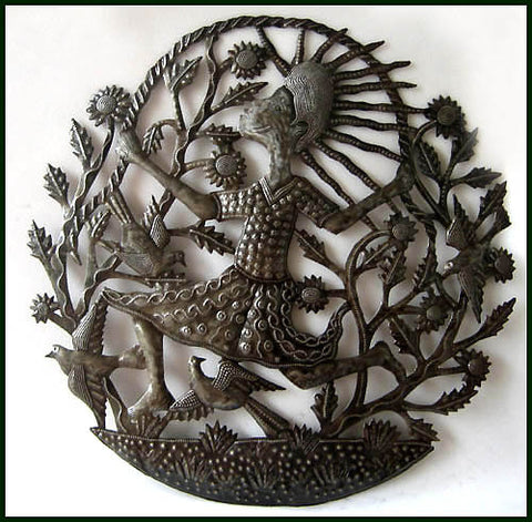 Haitian Child Metal Wall Hanging - Haitian Metal Art, Steel Drum Art - 24""