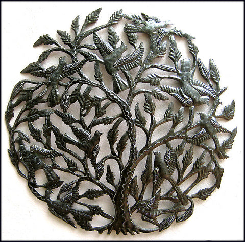 Haitian Metal Wall Hanging, Flock of Birds in Tree, Handcrafted Steel Drum Art, Haitian Art, 24""