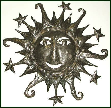 Sun and Stars Metal Wall Hanging - Haitian Recycled Steel Drum Art - 24""