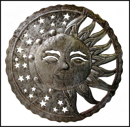 Sun and Moon Wall Decor, Metal Wall Art, Haitian Metal Art, Metal Wall Hanging, Recycled Steel Drum - 24""