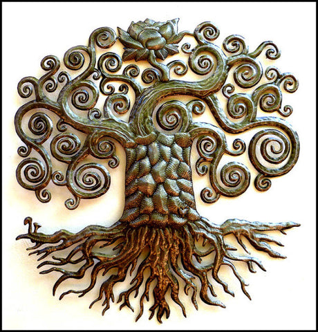 Metal Wall Hanging - Tree of Life - Recycled Haitian Steel Drum Art - Metal Garden Art - 34""