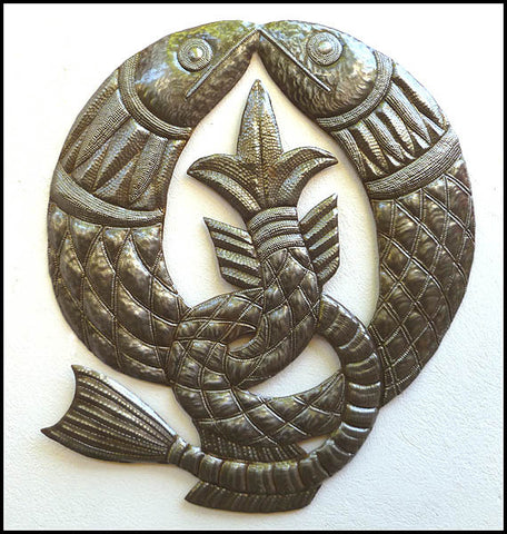 "Celtic Fish Symbol Metal Wall Art - Haitian Recycled Steel Drum Wall Hanging - 22"" x 24"""