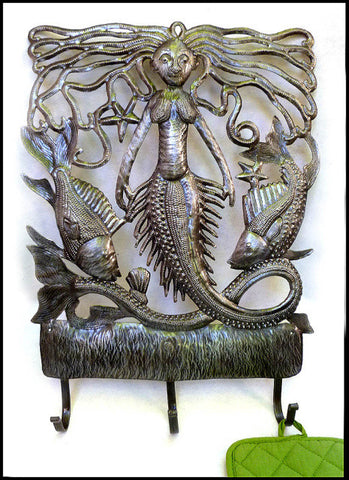 Mermaid Metal Wall Hook Home Decor - Metal Wall Art -  Haitian Hammered Steel Drum Art