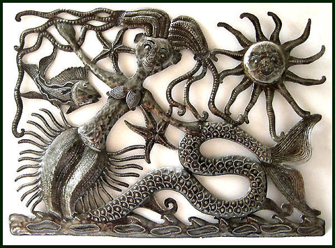"Mermaid Wall Decor, Haitian Metal Art Wall Hanging, Tropical Decor, Metal Mermaid - 17"" x 24"""