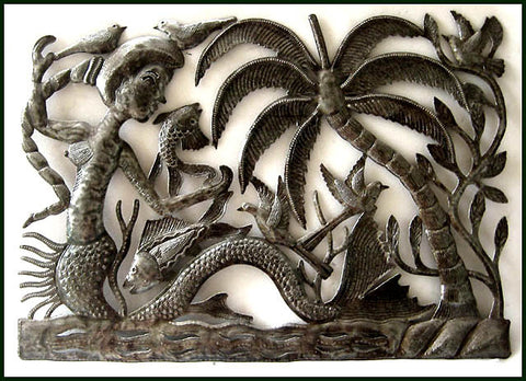Mermaid Metal Wall Hanging, Metal Wall Art, Haitian Art, Metal Garden Decor, Steel Drum Art