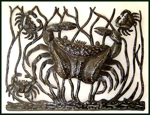 "Metal Crab Wall Hanging, Haitian Art, Nautical Decor, Handcrafted Haitian Steel Oil Drum Art. 17"" x 24"""