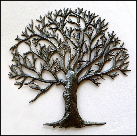 Metal Tree Wall Hanging, Tree of Life, Haitian Steel Drum, Metal Wall Decor, Garden Decor, Metal Art of Haiti - 34""