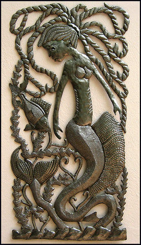 "Haitian Steel Drum Metal Art, Mermaid Art, Haitian Art, Mermaid Metal Wall Hanging  - 17"" x 34"""