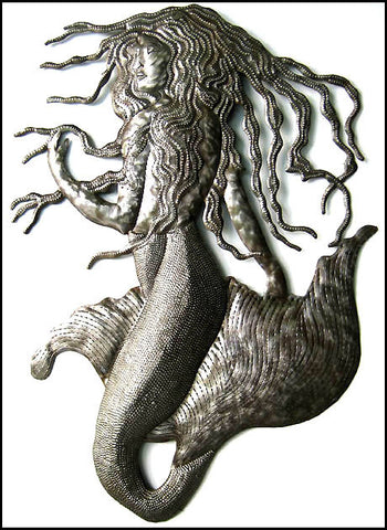 Mermaid Metal Wall Hanging -  Handcrafted Metal Wall Art - Haitian Recycled Steel Drum - 24""