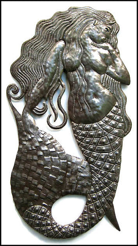 "Metal Art Mermaid Wall Decor  - Mermaid Metal Art Wall Hanging - Haitian Steel Drum Art - 13"" x 24"""