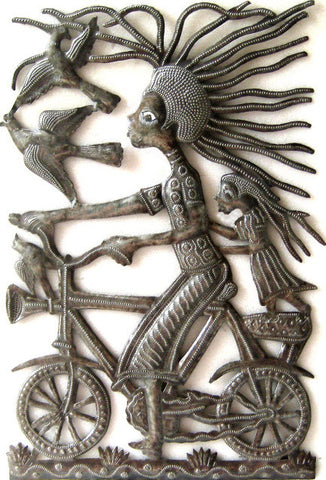 "Haitian Art, Recycled Haitian Steel Oil Drum Metal Wall Hanging , Mama and Child on Bicycle - 11"" x 17"""