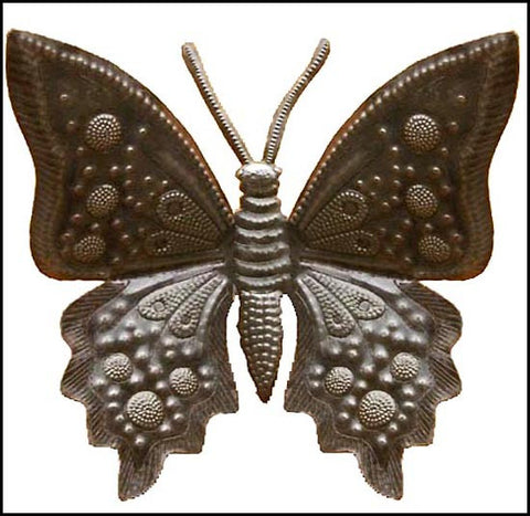 "Butterfly Metal Art Wall Hanging -  Haitian Recycled Steel Drum Art - 21"" x 24"""