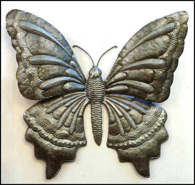 Haitian Metal Butterfly Wall Hanging - Handcrafted Outdoor Garden Decor - 34""