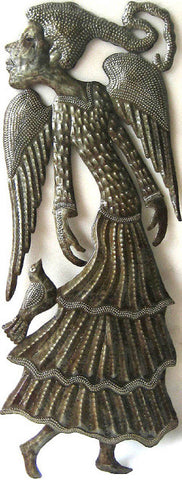 Haitian Art - Angel with Bird Metal Wall Hanging - Decorative Wall Decor - 24""