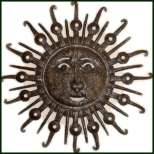 Metal Sun Wall Hanging - Handcrafted Metal Sun Wall Decor - Haitian Steel Drum Art - 34""