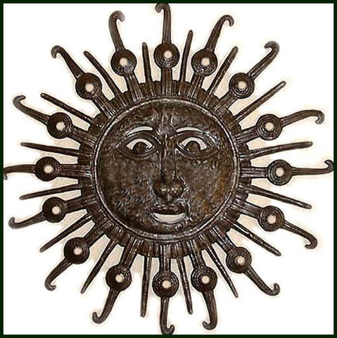Metal Sun Wall Hanging, Handcrafted Metal Sun Wall Decor, Metal Art, Haitian Steel Drum Art - 34""
