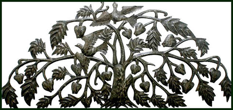 "Haitian Metal Art Wall Decor, Art of Haiti,  Metal Wall Art, Steel Drum Art, Leaves - 17""x 34"""